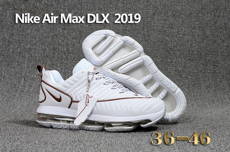 baskets nike air max dlx 2019 chaussures de running coffe white
