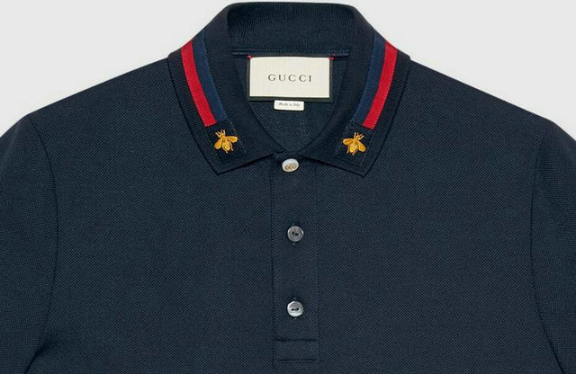54fe7538d44 gucci t-shirt 2018 polo short sleeve genuine bee embroidery col blue