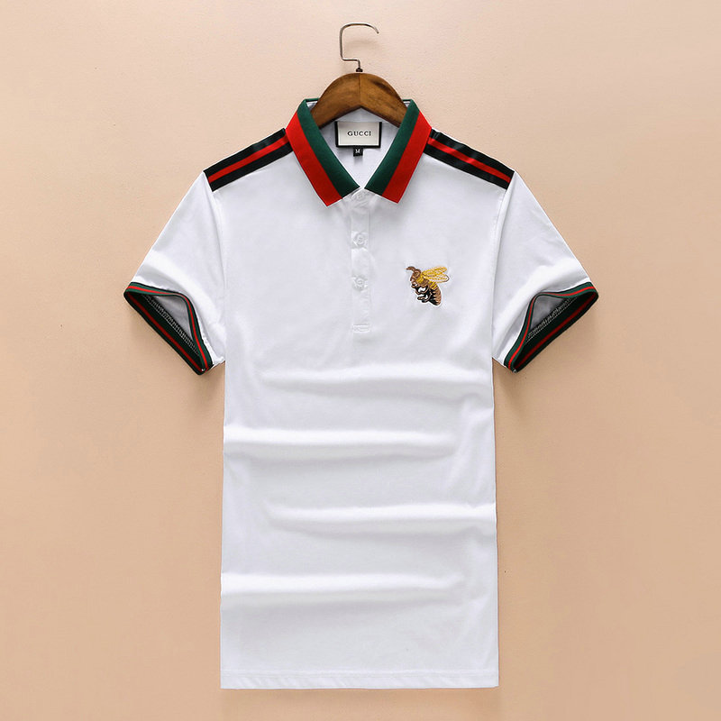 b602f7f0 gucci t-shirt 2018 polo short sleeve genuine big bee white Luxe ...