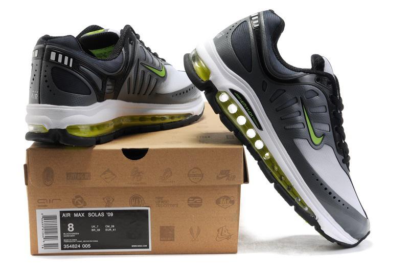 sports shoes 35fbb 324a0 nike air solas 2012 air max 09 gray white green office,nike air max ultra
