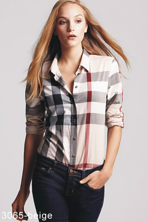 855fe9ad2e5e 38.00EUR, Burberry Chemises femmes,verifier coton chemise burberry femmes  pas cher slim 3065 brun