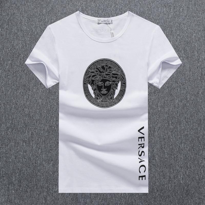 Versace emblématique à col V en coton extensible tee-shirt Homme blanc
