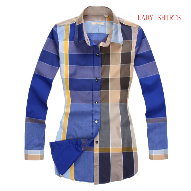 Burberry Camisas para mujeres,chemise burberry populaire 2013 mujer coton  france lady shirts bleu e19945bf440