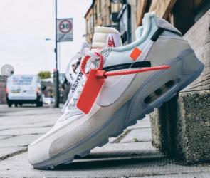 low cost 8a2f0 bbb56 nike the ten air max 90 off white ice on feet Luxe vedette ...