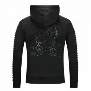 free shipping beda4 a3932 philipp plein sweat a capuche rivets skull shouder