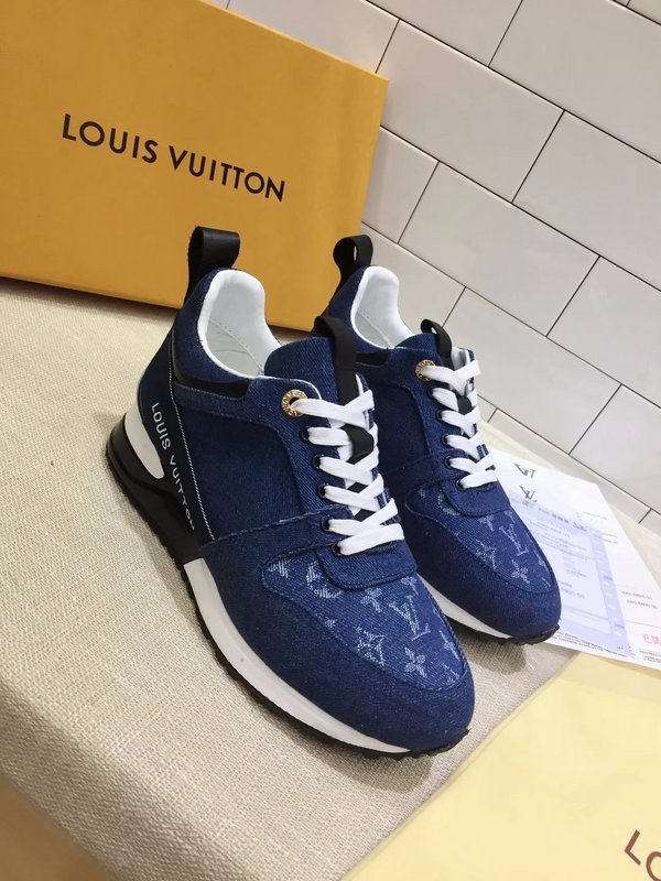 professionnel de la vente à chaud livraison gratuite factory sneakers run away louis vuitton women denim imprime Luxe ...